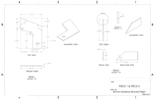 Bottom Radiator Bracket Right Solidworks Drawing