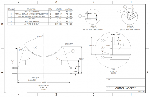 Muffler Bracket Solidworks Drawing